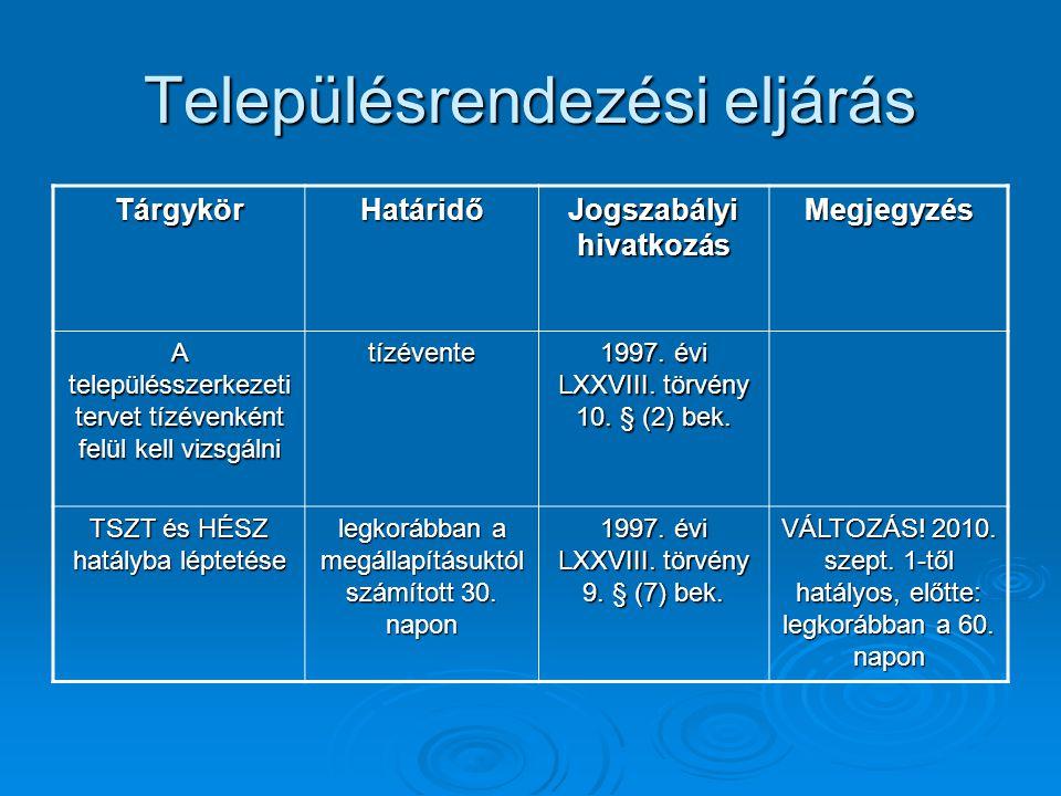 Településrendezési eljárás TárgykörHatáridő Jogszabályi hivatkozás Megjegyzés A településszerkezeti tervet tízévenként felül kell vizsgálni tízévente