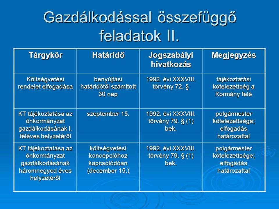 Gazdálkodással összefüggő feladatok II. TárgykörHatáridő Jogszabályi hivatkozás Megjegyzés Költségvetési rendelet elfogadása benyújtási határidőtől sz