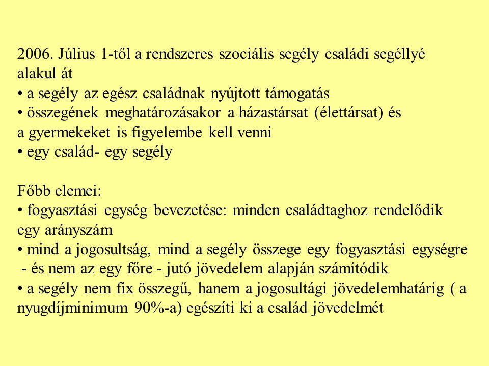 Az új típusú rendszeres szociális segély jogosultsági feltételeiről szóló szabályozás 2006.