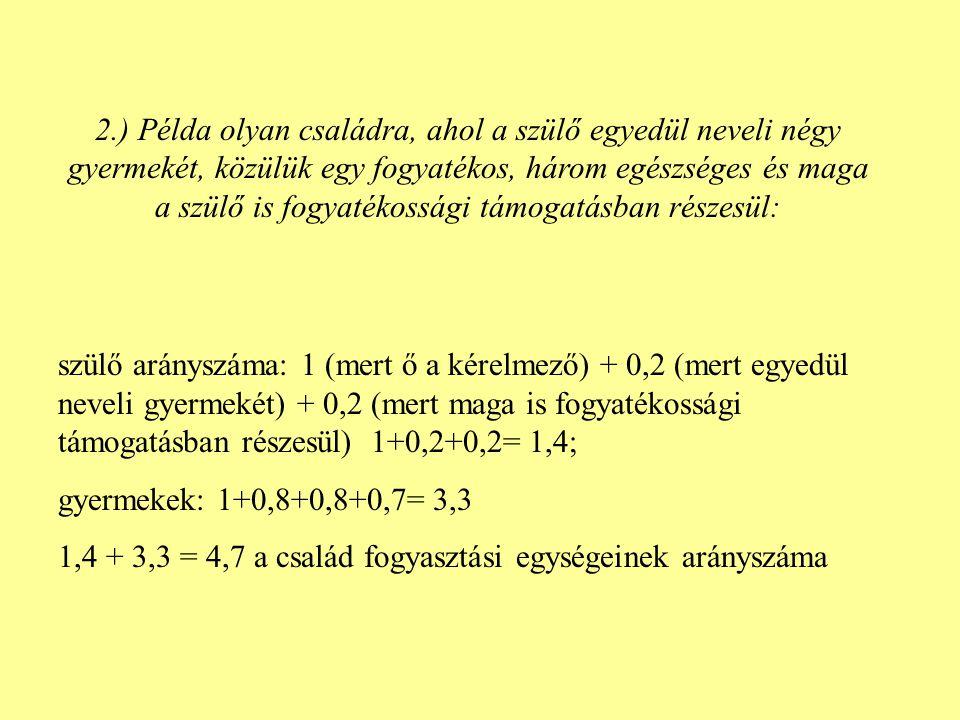 3.) Példa olyan családra, ahol a kérelmező házastársa részesül fogyatékossági támogatásban, és két gyermeket nevelnek, közülük egyik tartósan beteg, emelt összegű családi pótlékban részesül Kérelmező szülő: 1,0; Házastárs: 0,9 + 0,2 (mert fogyatékossági támogatásban részesül) = 1,1; Tartósan beteg gyermek: 1,0 (Szt.