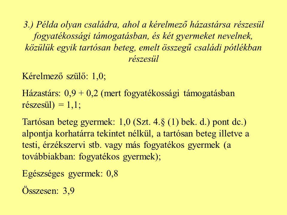 Házastársak (élettársak) lakcímének azonossága illetve különbözősége Szt.