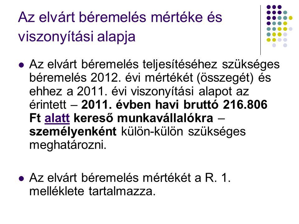 Az elvárt béremelés mértéke és viszonyítási alapja Az elvárt béremelés teljesítéséhez szükséges béremelés 2012. évi mértékét (összegét) és ehhez a 201