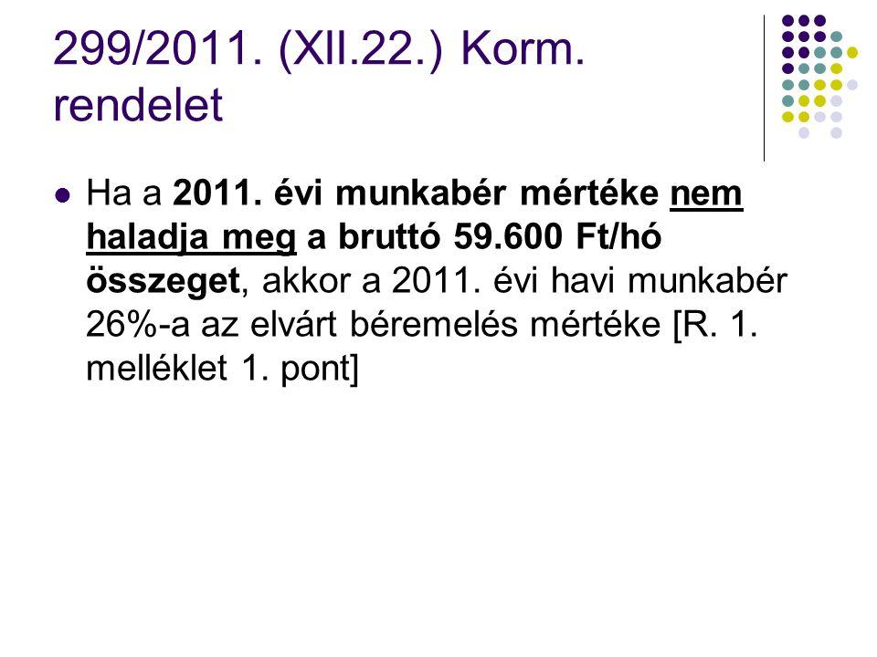 299/2011. (XII.22.) Korm. rendelet Ha a 2011. évi munkabér mértéke nem haladja meg a bruttó 59.600 Ft/hó összeget, akkor a 2011. évi havi munkabér 26%