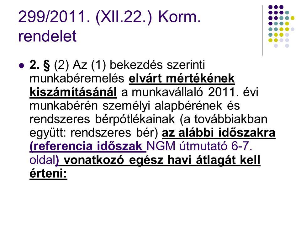 299/2011. (XII.22.) Korm. rendelet 2. § (2) Az (1) bekezdés szerinti munkabéremelés elvárt mértékének kiszámításánál a munkavállaló 2011. évi munkabér