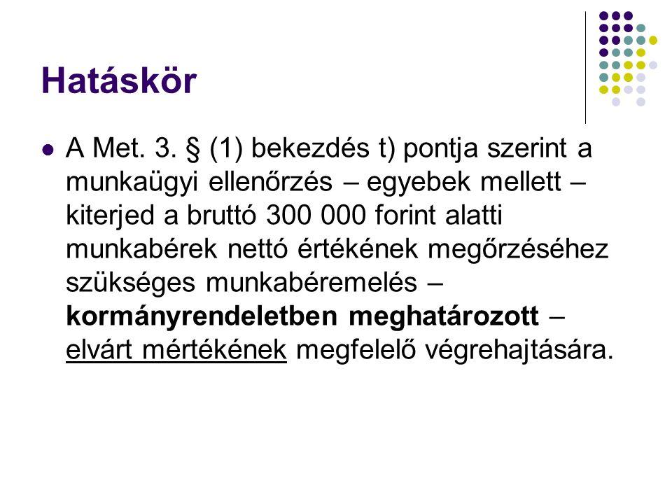 Hatáskör A Met. 3. § (1) bekezdés t) pontja szerint a munkaügyi ellenőrzés – egyebek mellett – kiterjed a bruttó 300 000 forint alatti munkabérek nett