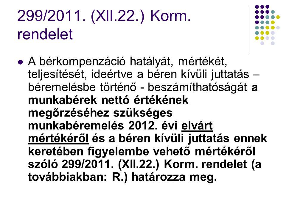 299/2011. (XII.22.) Korm. rendelet A bérkompenzáció hatályát, mértékét, teljesítését, ideértve a béren kívüli juttatás – béremelésbe történő - beszámí