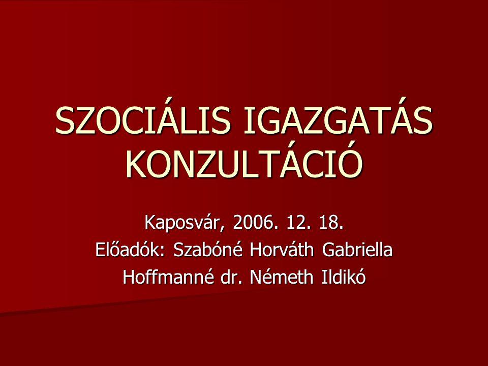 SZOCIÁLIS IGAZGATÁS KONZULTÁCIÓ Kaposvár, 2006. 12. 18. Előadók: Szabóné Horváth Gabriella Hoffmanné dr. Németh Ildikó