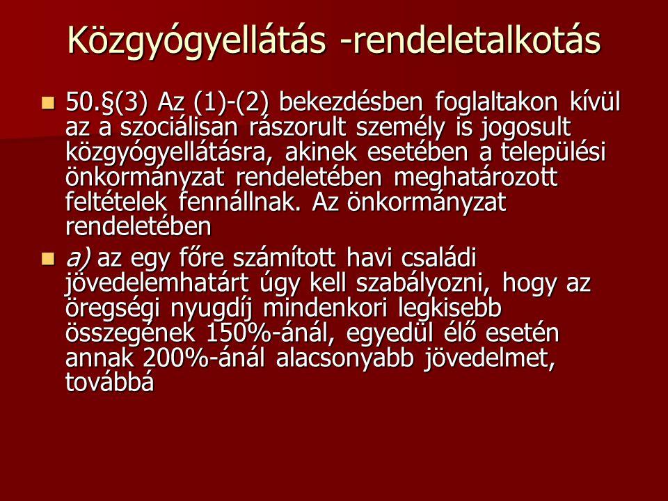 Közgyógyellátás -rendeletalkotás 50.§(3) Az (1)-(2) bekezdésben foglaltakon kívül az a szociálisan rászorult személy is jogosult közgyógyellátásra, ak