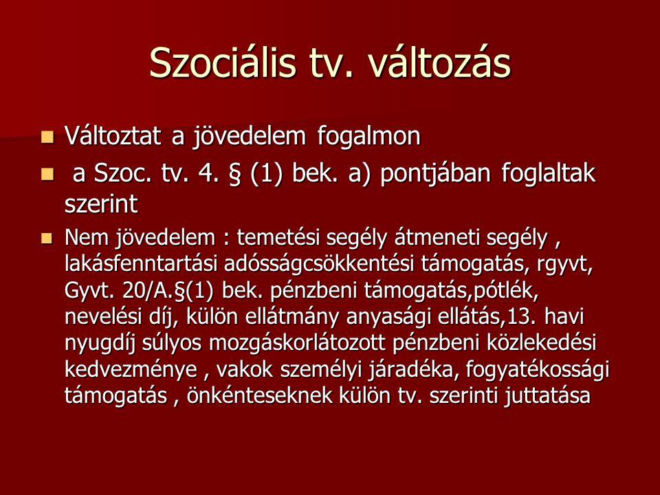 Szociális tv. változás Változtat a jövedelem fogalmon Változtat a jövedelem fogalmon a Szoc. tv. 4. § (1) bek. a) pontjában foglaltak szerint a Szoc.