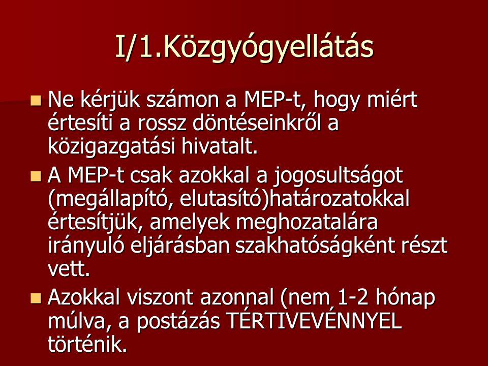 I/1.Közgyógyellátás Ne kérjük számon a MEP-t, hogy miért értesíti a rossz döntéseinkről a közigazgatási hivatalt. Ne kérjük számon a MEP-t, hogy miért