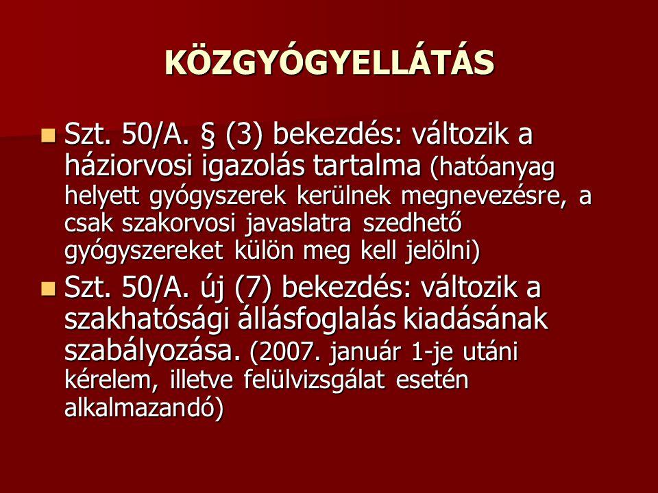 KÖZGYÓGYELLÁTÁS Szt. 50/A. § (3) bekezdés: változik a háziorvosi igazolás tartalma (hatóanyag helyett gyógyszerek kerülnek megnevezésre, a csak szakor