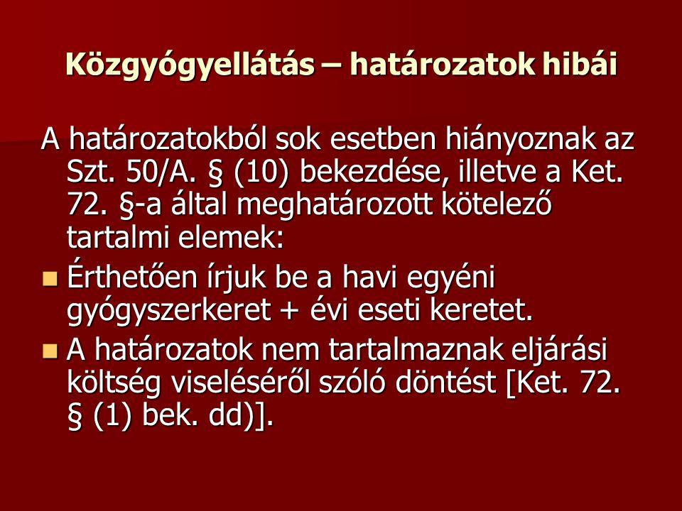 Közgyógyellátás – határozatok hibái A határozatokból sok esetben hiányoznak az Szt. 50/A. § (10) bekezdése, illetve a Ket. 72. §-a által meghatározott