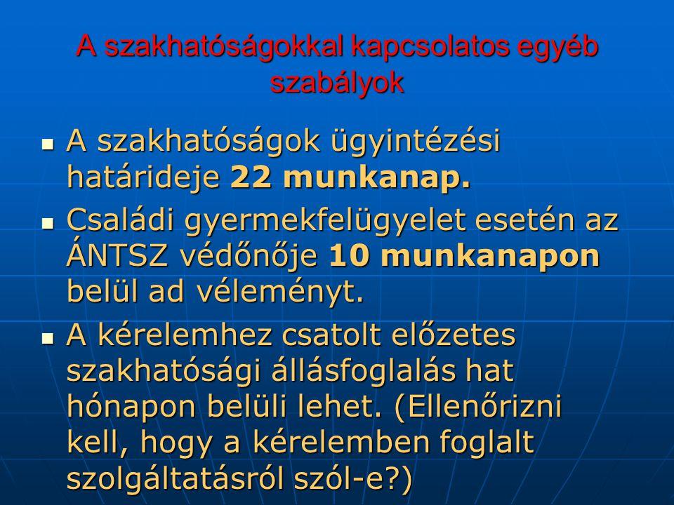 A szakhatóságokkal kapcsolatos egyéb szabályok A szakhatóságok ügyintézési határideje 22 munkanap.