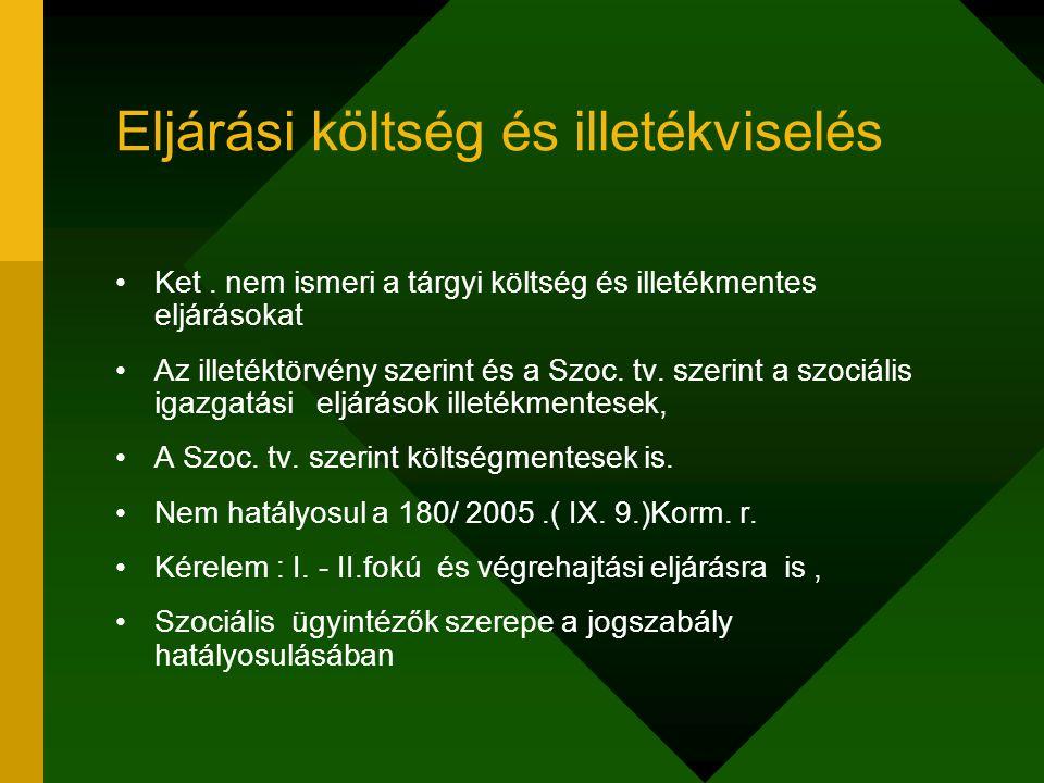 Eljárási költség és illetékviselés Ket. nem ismeri a tárgyi költség és illetékmentes eljárásokat Az illetéktörvény szerint és a Szoc. tv. szerint a sz