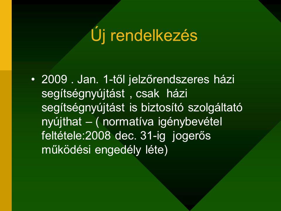Új rendelkezés 2009. Jan. 1-től jelzőrendszeres házi segítségnyújtást, csak házi segítségnyújtást is biztosító szolgáltató nyújthat – ( normatíva igén