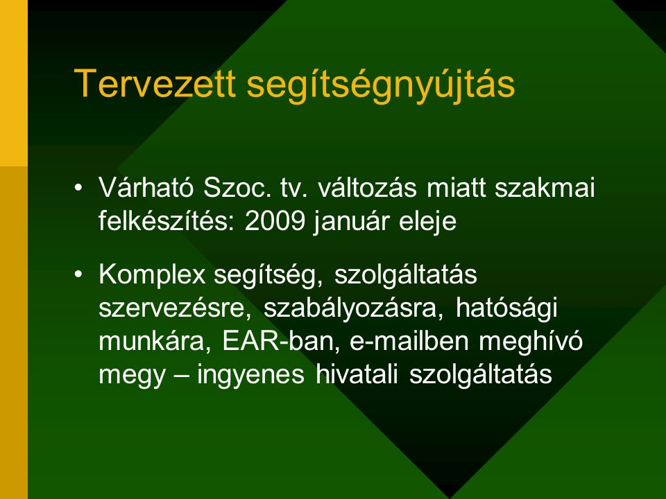 Tervezett segítségnyújtás Várható Szoc. tv. változás miatt szakmai felkészítés: 2009 január eleje Komplex segítség, szolgáltatás szervezésre, szabályo