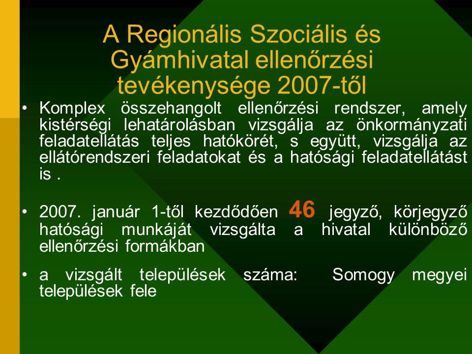 A Regionális Szociális és Gyámhivatal ellenőrzési tevékenysége 2007-től Komplex összehangolt ellenőrzési rendszer, amely kistérségi lehatárolásban viz