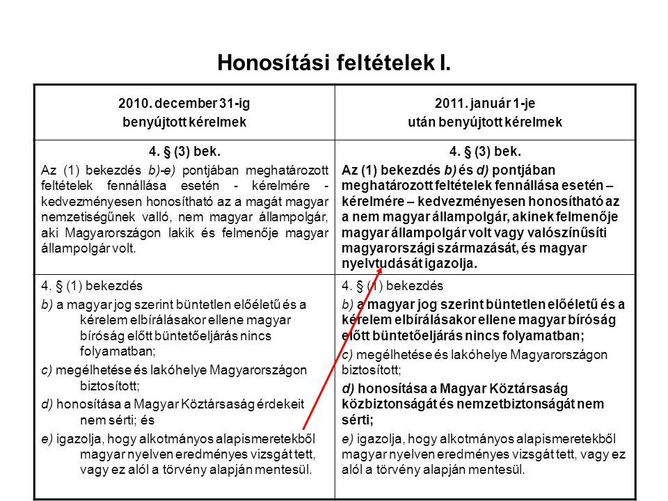 Honosítási feltételek I. 2010. december 31-ig benyújtott kérelmek 2011. január 1-je után benyújtott kérelmek 4. § (3) bek. Az (1) bekezdés b)-e) pontj