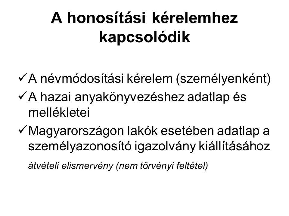 A honosítási kérelemhez kapcsolódik A névmódosítási kérelem (személyenként) A hazai anyakönyvezéshez adatlap és mellékletei Magyarországon lakók eseté