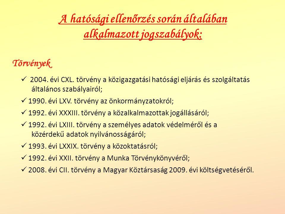 A hatósági ellenőrzés során általában alkalmazott jogszabályok: 2004. évi CXL. törvény a közigazgatási hatósági eljárás és szolgáltatás általános szab