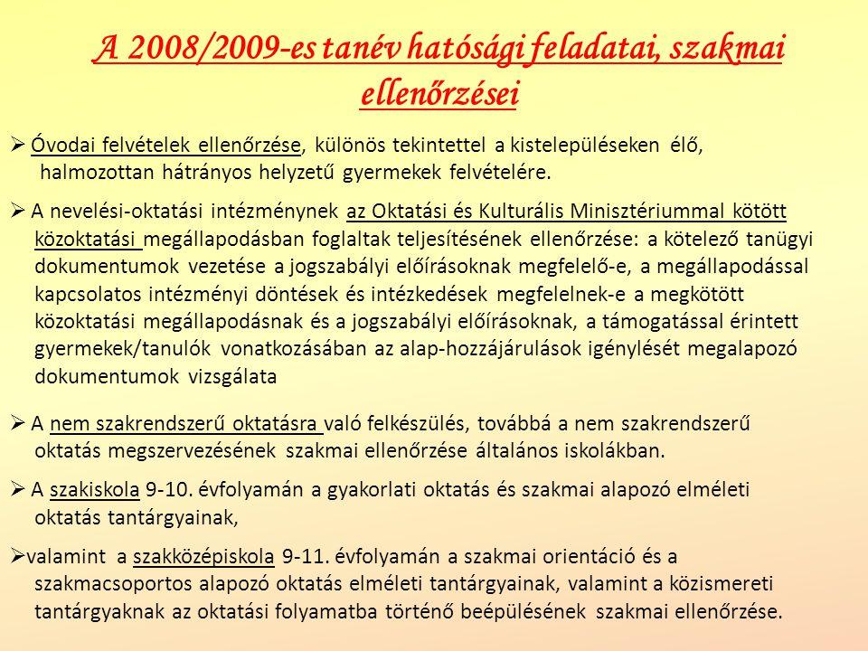 A 2008/2009-es tanév hatósági feladatai, szakmai ellenőrzései  Óvodai felvételek ellenőrzése, különös tekintettel a kistelepüléseken élő, halmozottan hátrányos helyzetű gyermekek felvételére.