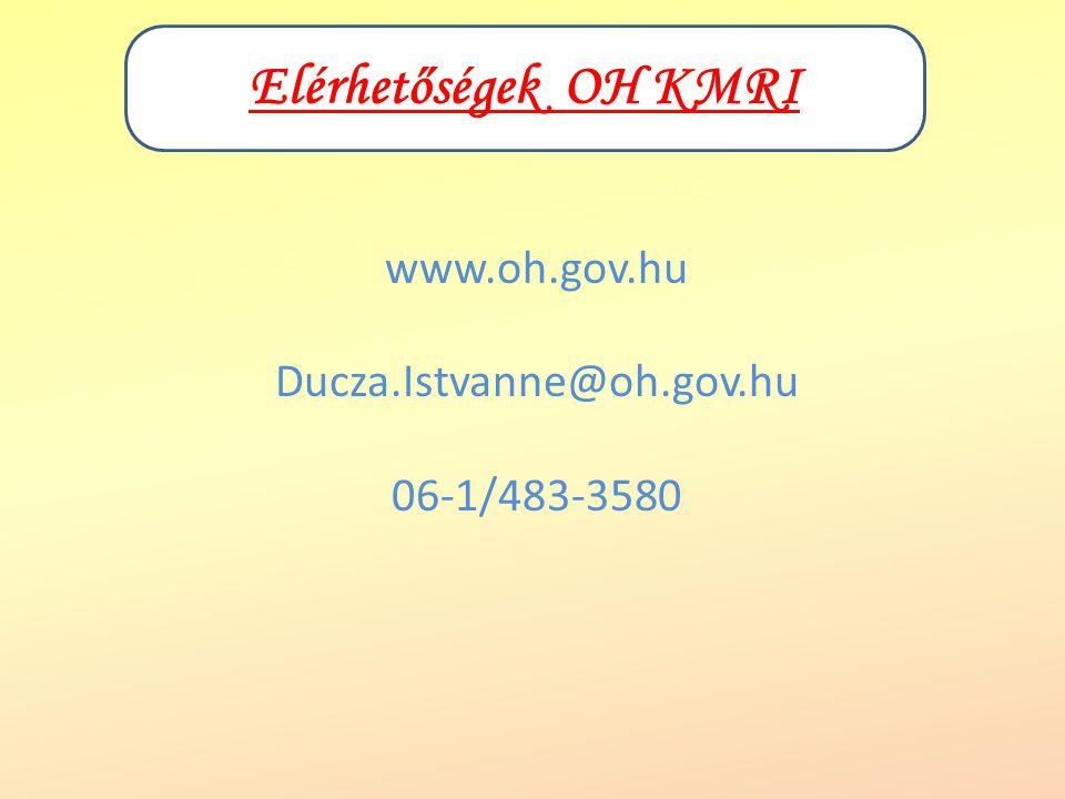 Elérhetőségek OH KMRI www.oh.gov.hu Ducza.Istvanne@oh.gov.hu 06-1/483-3580