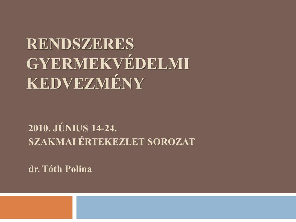 RENDSZERES GYERMEKVÉDELMI KEDVEZMÉNY 2010. JÚNIUS 14-24. SZAKMAI ÉRTEKEZLET SOROZAT dr. Tóth Polina