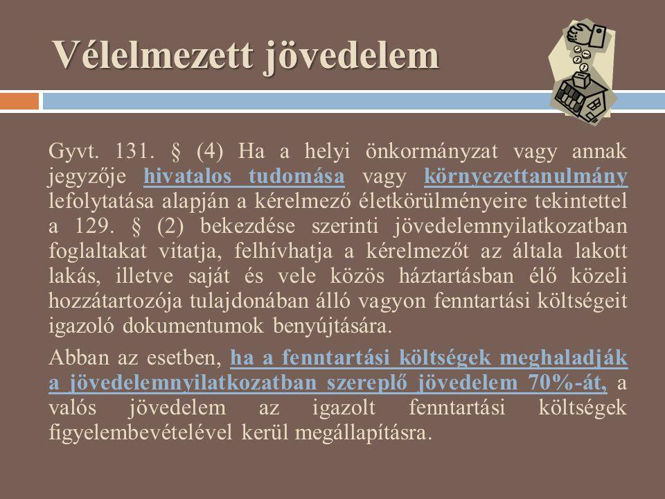 Vélelmezett jövedelem Gyvt. 131. § (4) Ha a helyi önkormányzat vagy annak jegyzője hivatalos tudomása vagy környezettanulmány lefolytatása alapján a k