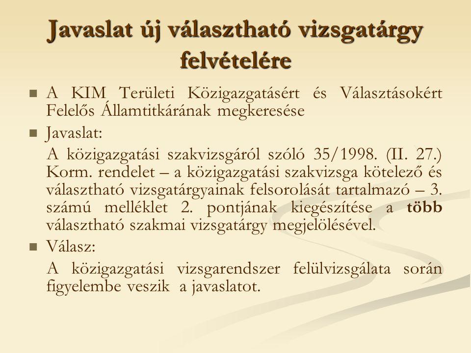 Javaslat új választható vizsgatárgy felvételére A KIM Területi Közigazgatásért és Választásokért Felelős Államtitkárának megkeresése Javaslat: A közig