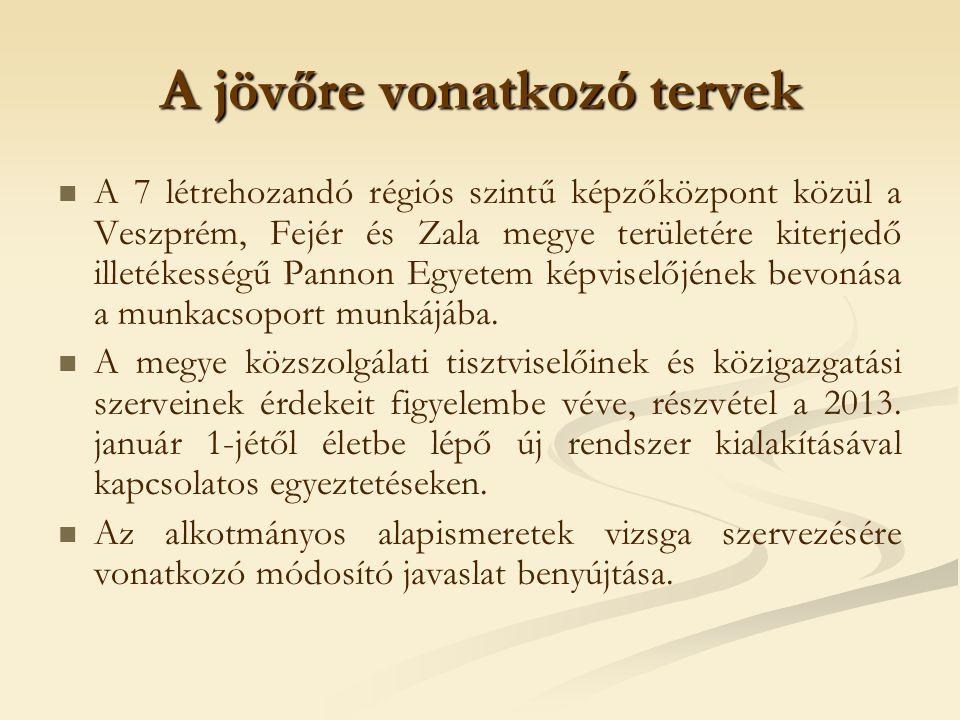 A jövőre vonatkozó tervek A 7 létrehozandó régiós szintű képzőközpont közül a Veszprém, Fejér és Zala megye területére kiterjedő illetékességű Pannon