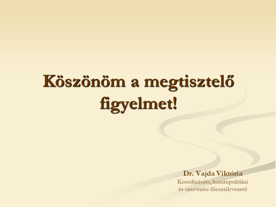 Köszönöm a megtisztelő figyelmet! Dr. Vajda Viktória Koordinációs, humánpolitikai és szervezési főosztályvezető