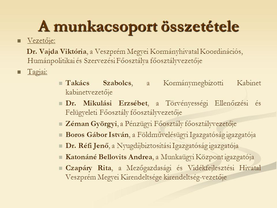 A munkacsoport összetétele Vezetője: Dr. Vajda Viktória, a Veszprém Megyei Kormányhivatal Koordinációs, Humánpolitikai és Szervezési Főosztálya főoszt