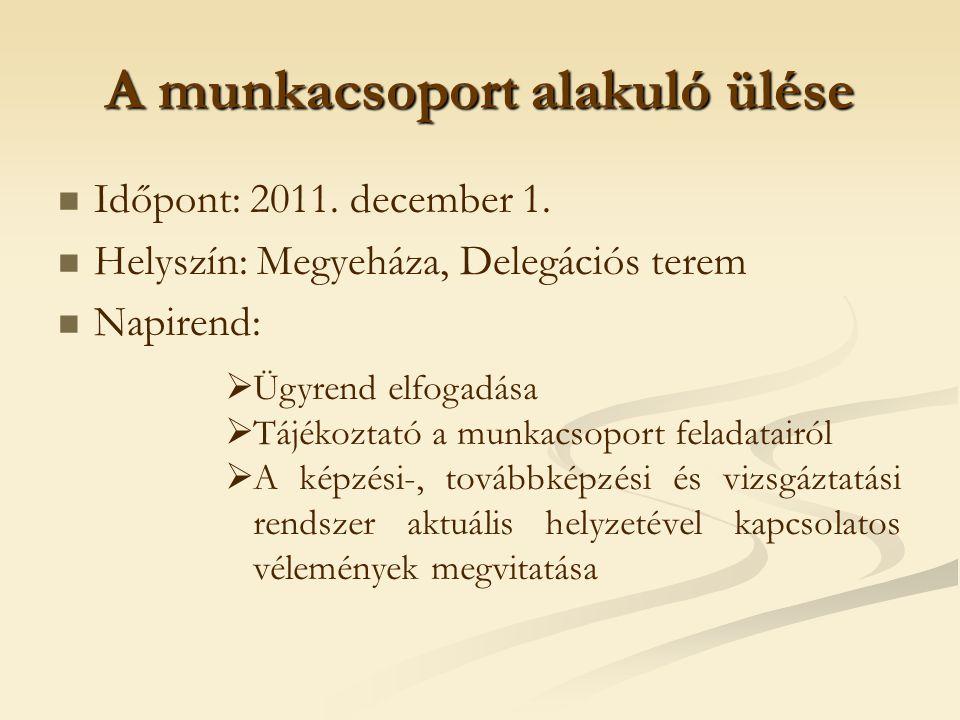 A munkacsoport alakuló ülése Időpont: 2011. december 1. Helyszín: Megyeháza, Delegációs terem Napirend:  Ügyrend elfogadása  Tájékoztató a munkacsop