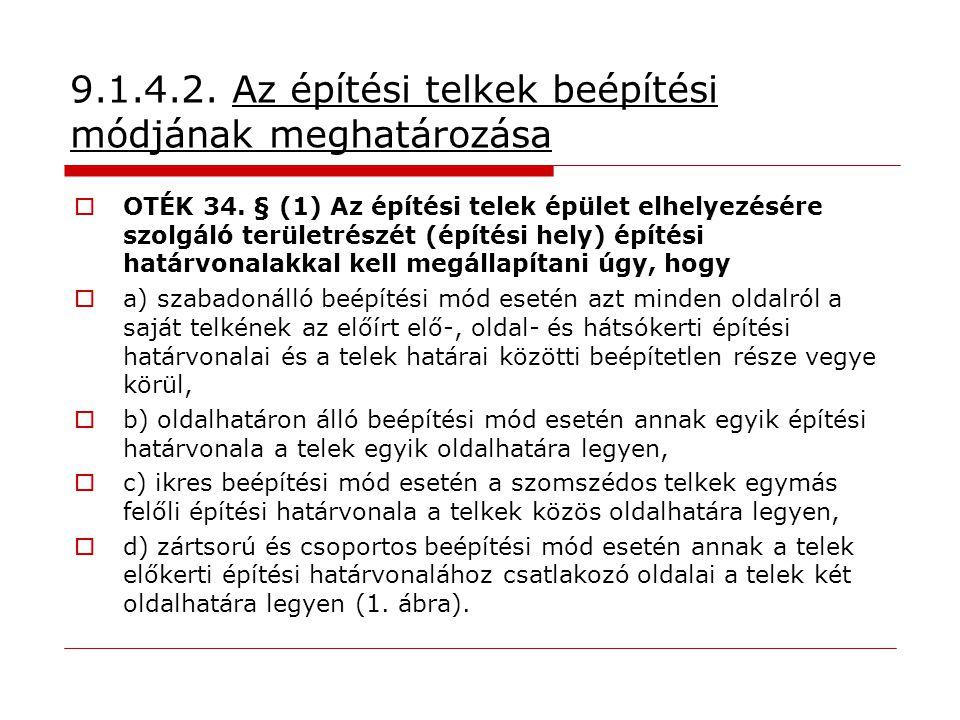 9.1.4.2. Az építési telkek beépítési módjának meghatározása  OTÉK 34. § (1) Az építési telek épület elhelyezésére szolgáló területrészét (építési hel