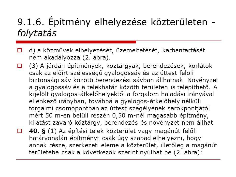9.1.6. Építmény elhelyezése közterületen - folytatás  d) a közművek elhelyezését, üzemeltetését, karbantartását nem akadályozza (2. ábra).  (3) A já