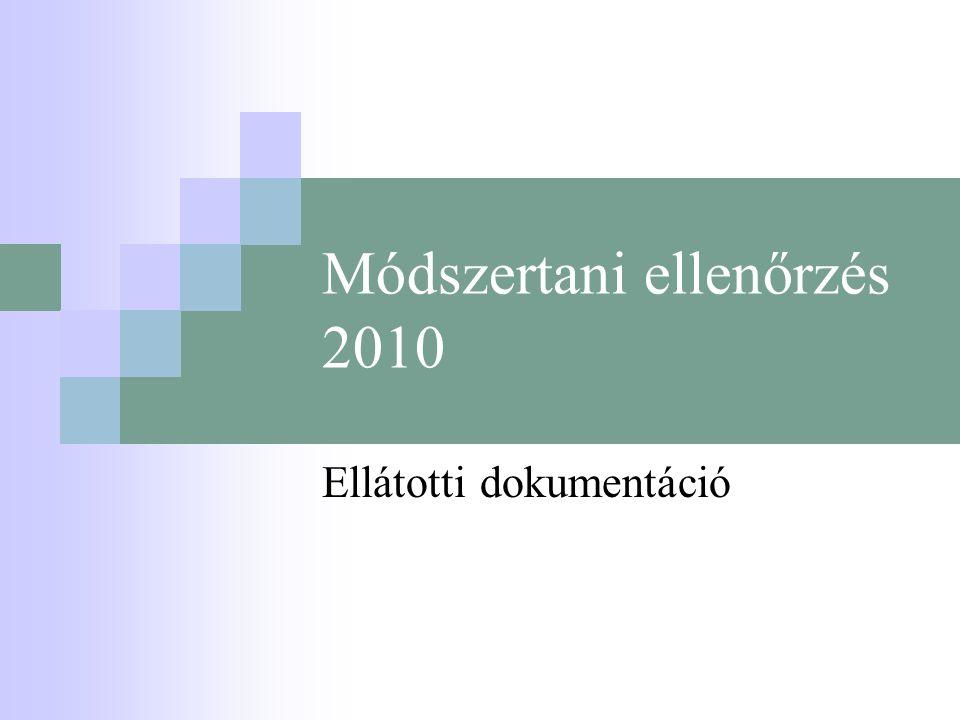 Módszertani ellenőrzés 2010 Ellátotti dokumentáció