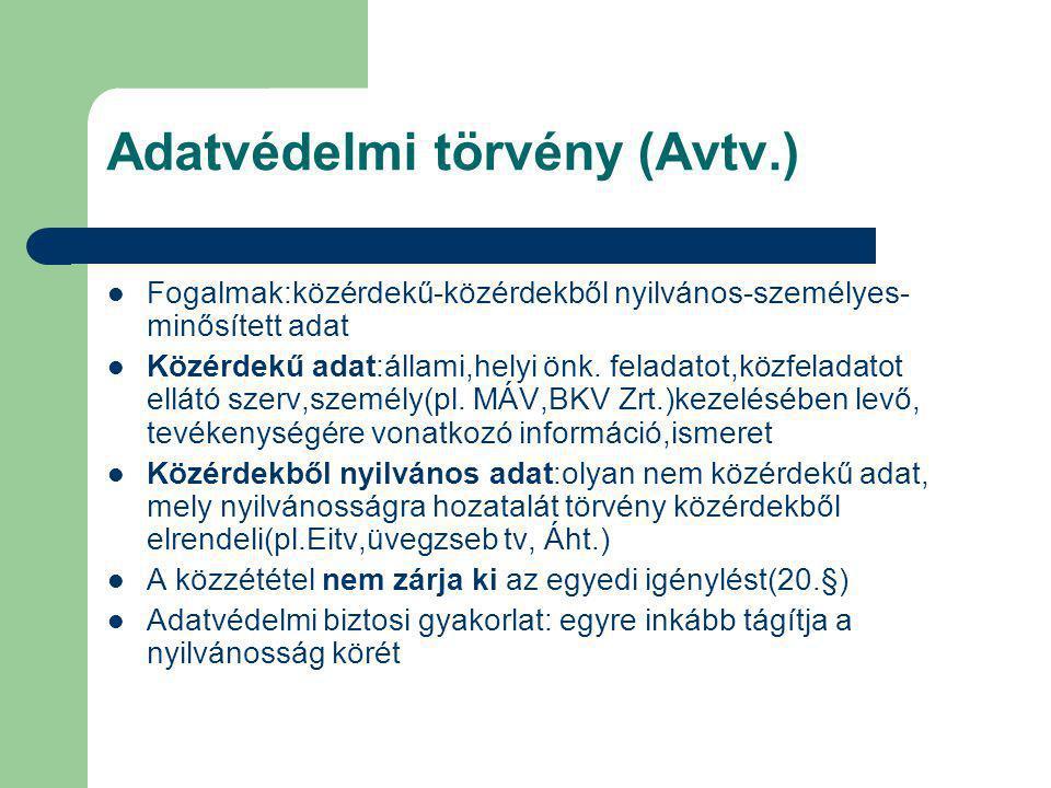 Adatvédelmi törvény (Avtv.) Fogalmak:közérdekű-közérdekből nyilvános-személyes- minősített adat Közérdekű adat:állami,helyi önk. feladatot,közfeladato