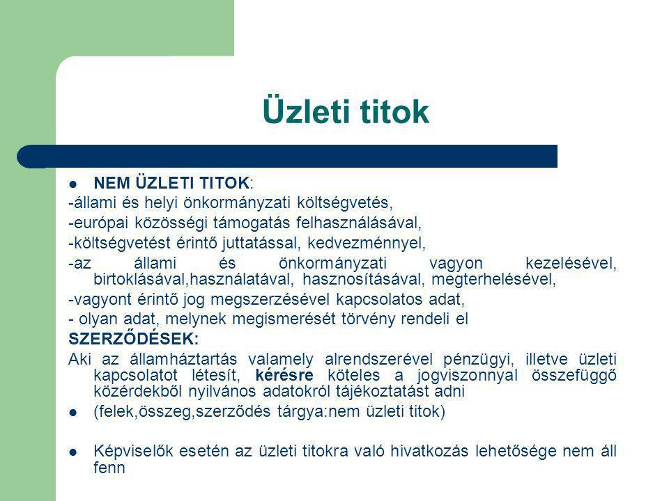 Üzleti titok NEM ÜZLETI TITOK: -állami és helyi önkormányzati költségvetés, -európai közösségi támogatás felhasználásával, -költségvetést érintő jutta