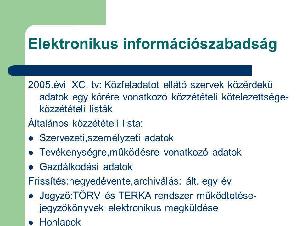 Elektronikus információszabadság 2005.évi XC. tv: Közfeladatot ellátó szervek közérdekű adatok egy körére vonatkozó közzétételi kötelezettsége- közzét