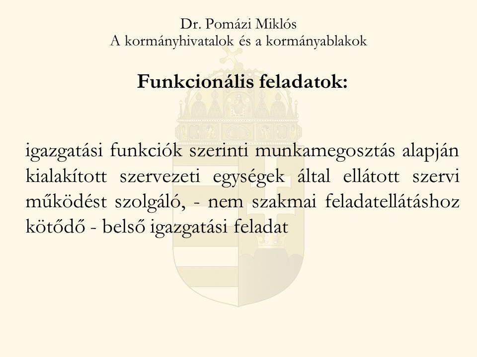 2014. 07. 25. Dr. Pomázi Miklós A kormányhivatalok és a kormányablakok Funkcionális feladatok: igazgatási funkciók szerinti munkamegosztás alapján kia