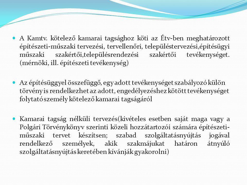 A Kamtv. kötelező kamarai tagsághoz köti az Étv-ben meghatározott építészeti-műszaki tervezési, tervellenőri, településtervezési,építésügyi műszaki sz