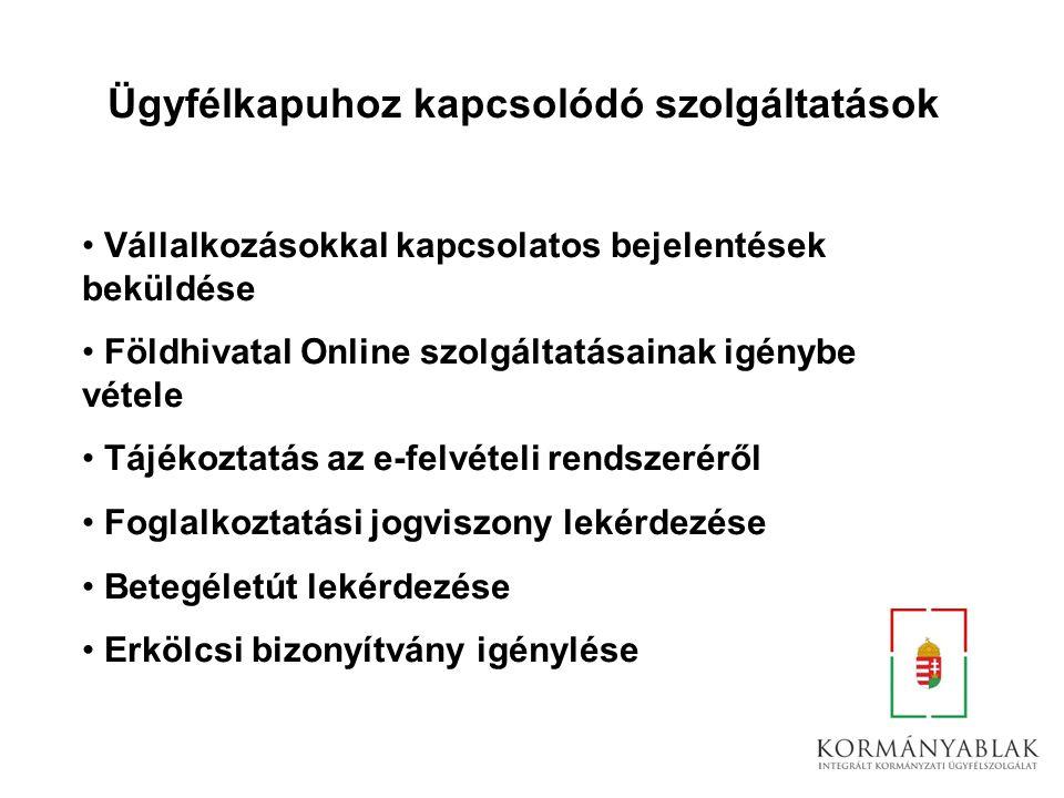 Ügyfélkapuhoz kapcsolódó szolgáltatások Vállalkozásokkal kapcsolatos bejelentések beküldése Földhivatal Online szolgáltatásainak igénybe vétele Tájéko