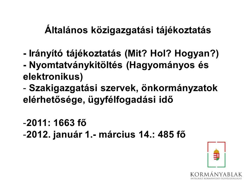 Általános közigazgatási tájékoztatás - Irányító tájékoztatás (Mit? Hol? Hogyan?) - Nyomtatványkitöltés (Hagyományos és elektronikus) - Szakigazgatási