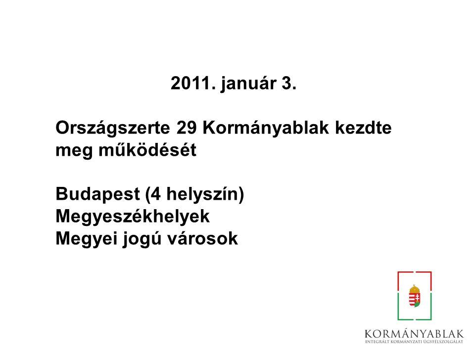 2011. január 3. Országszerte 29 Kormányablak kezdte meg működését Budapest (4 helyszín) Megyeszékhelyek Megyei jogú városok