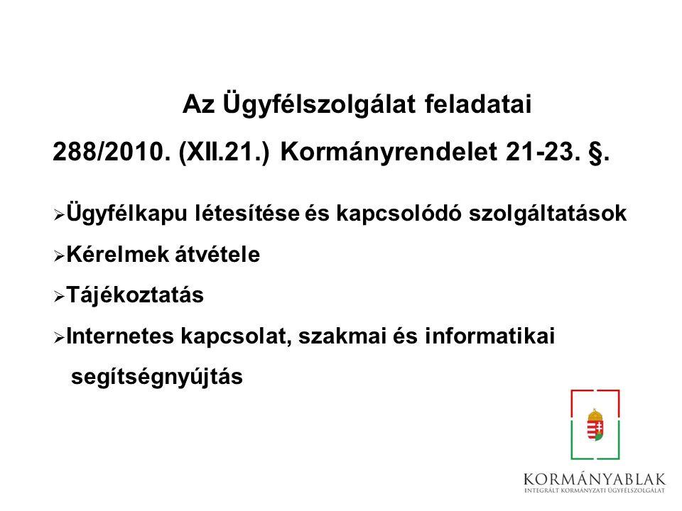 Az Ügyfélszolgálat feladatai 288/2010. (XII.21.) Kormányrendelet 21-23. §.  Ügyfélkapu létesítése és kapcsolódó szolgáltatások  Kérelmek átvétele 