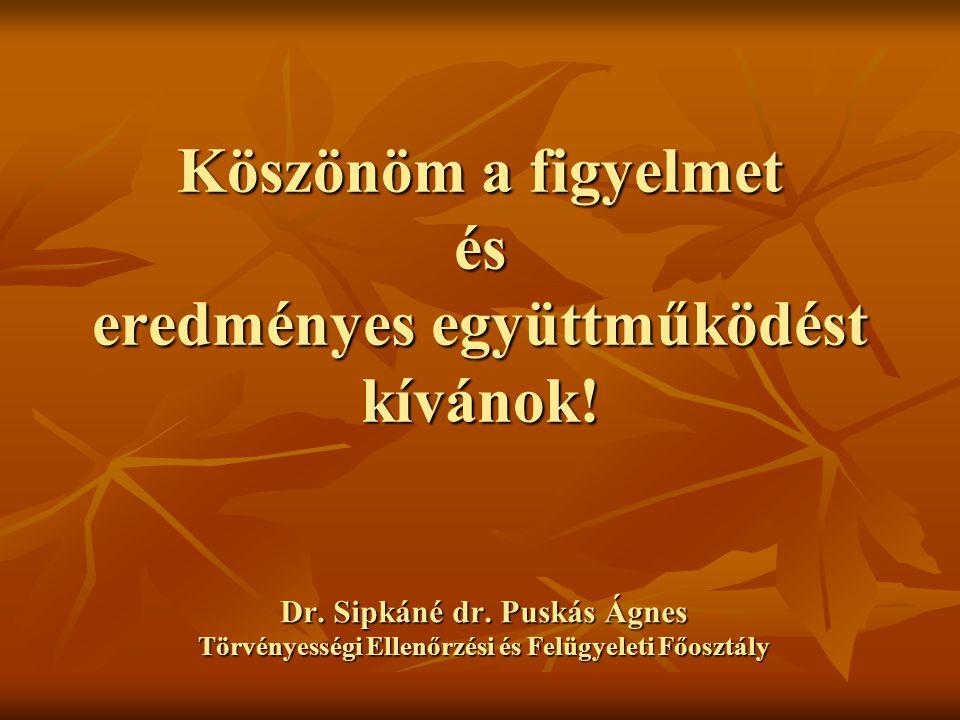 Köszönöm a figyelmet és eredményes együttműködést kívánok! Dr. Sipkáné dr. Puskás Ágnes Törvényességi Ellenőrzési és Felügyeleti Főosztály