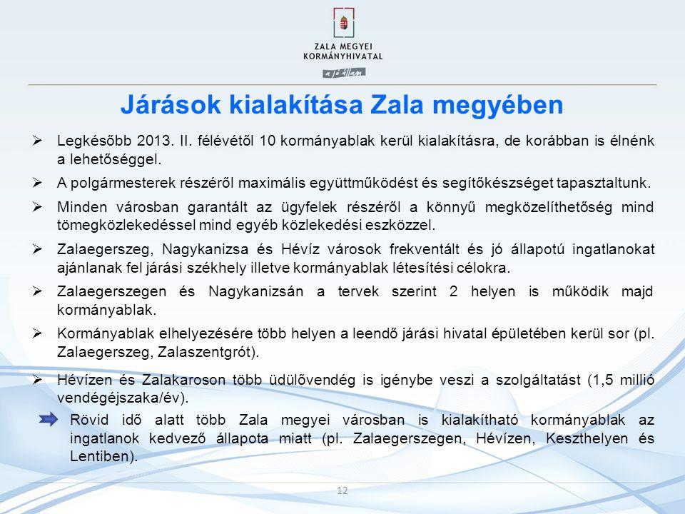 Járások kialakítása Zala megyében  Legkésőbb 2013. II. félévétől 10 kormányablak kerül kialakításra, de korábban is élnénk a lehetőséggel.  A polgár
