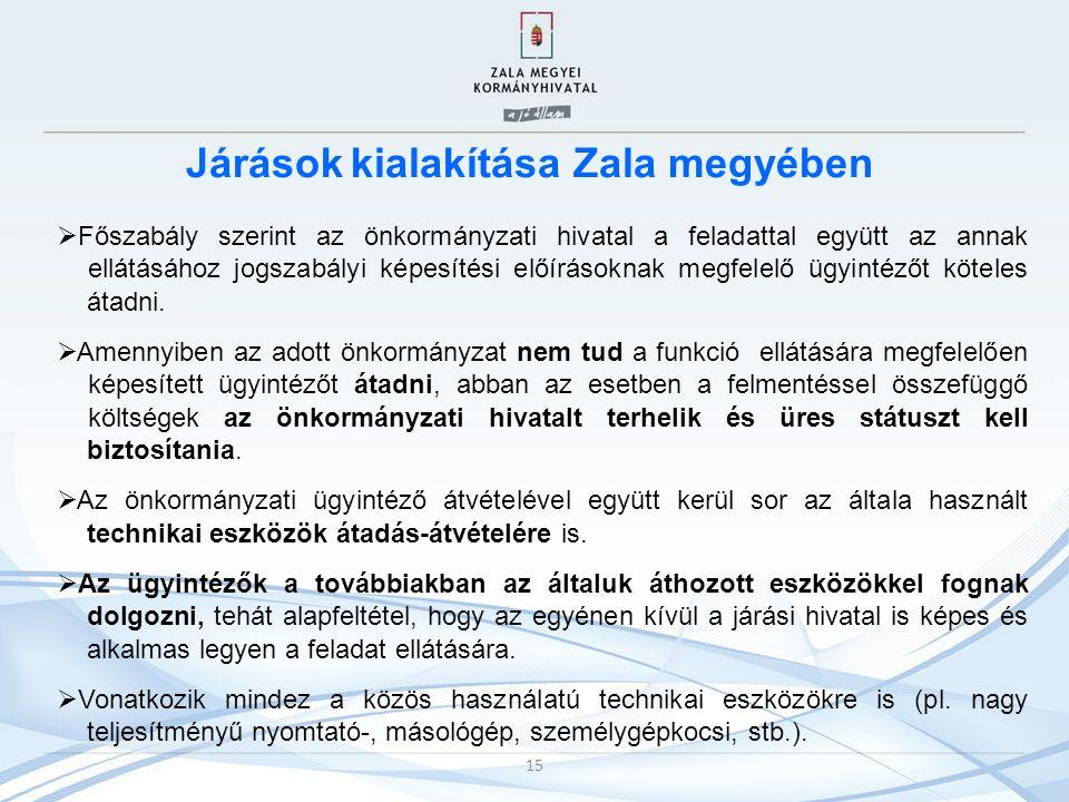 Járások kialakítása Zala megyében  Főszabály szerint az önkormányzati hivatal a feladattal együtt az annak ellátásához jogszabályi képesítési előírás