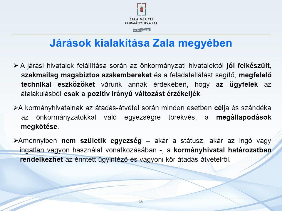 Járások kialakítása Zala megyében  A járási hivatalok felállítása során az önkormányzati hivataloktól jól felkészült, szakmailag magabiztos szakember