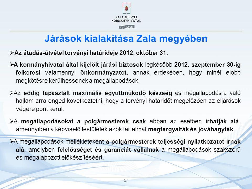 Járások kialakítása Zala megyében  Az átadás-átvétel törvényi határideje 2012. október 31.  A kormányhivatal által kijelölt járási biztosok legkésőb